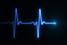 Blue Glowing Neon Heart Pulse ...