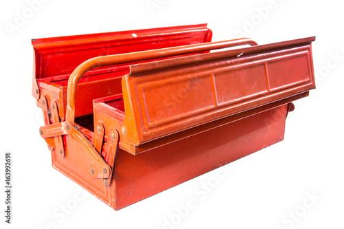 Fototapeta Tool box isolated on white background.Metal toolbox isolated obraz na płótnie