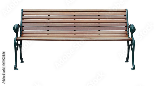 Fotografía wood bench isolate with clipping path on white background