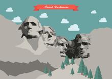 Mount Rushmore Vector Illustration
