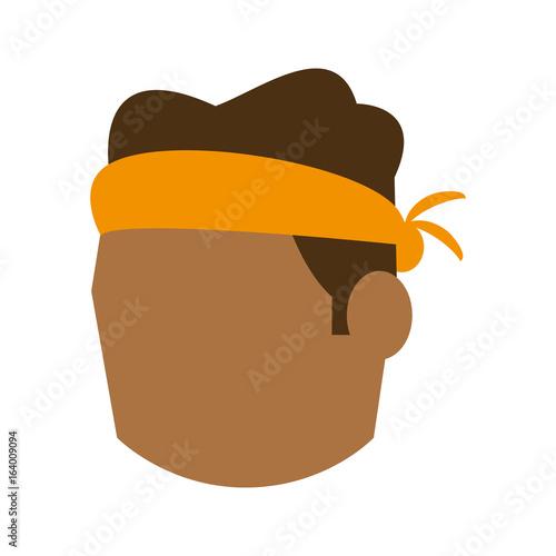 Valokuvatapetti head of man with tied headband avatar icon image vector illustration design