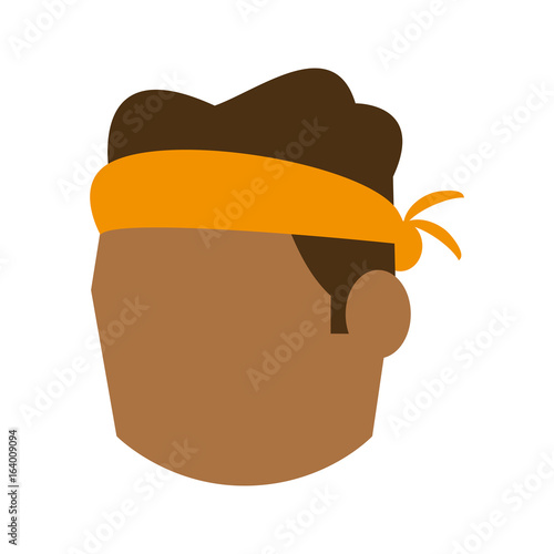 Photo head of man with tied headband avatar icon image vector illustration design