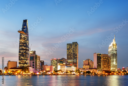 Recess Fitting Asian Famous Place Ho Chi Minh City skyline at sunset. Scenic cityscape