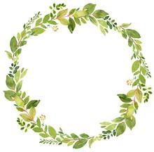 Green Wreath Watercolor Decoration