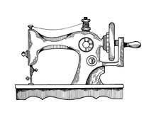 Sewing Machine Engraving Vector