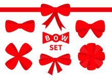 Red Ribbon Christmas Bow Big Icon Set. Decoration Element For Giftbox Present. White Background. Isolated. Flat Design.