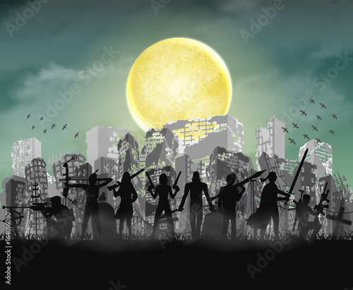 zombie slayer team with ruined apocalypse city Canvas Print