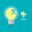 lightbulb jigsaw idea background vector