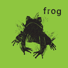 Silhouette Frog In Grunge Design Style Animal Icon Vector Illustration