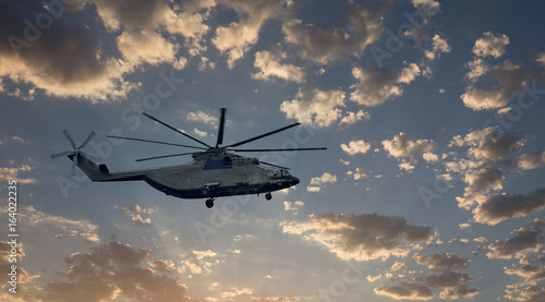Tuinposter Helicopter Military Transport helicopter at the sky. largest production helicopter