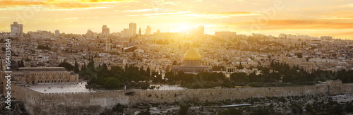 Poster Moyen-Orient jerusalem city by sunset