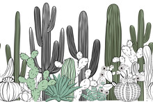 Seamless Pattern With Cactus. ...