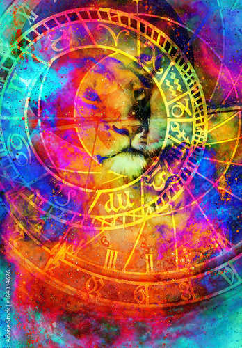 Fotobehang - beautiful painting of lioness with zodiac motive in floating space energy and light.
