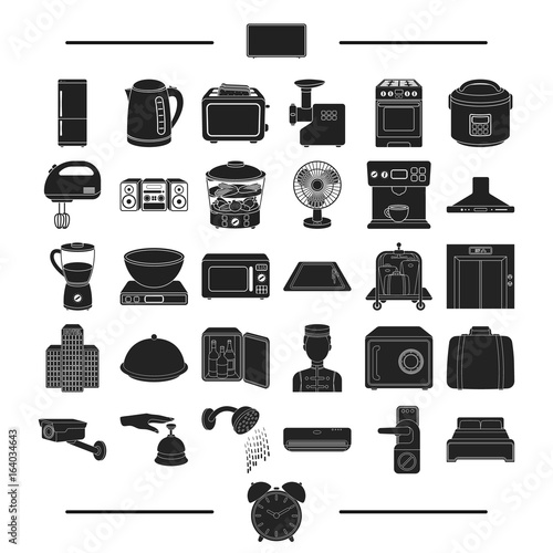 Fotografie, Obraz  vacation, appliances, domestic and other web icon in black style
