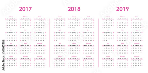 Fotografia  Calendar template for 2017, 2018, 2019