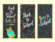 Set of banners back to school. Hand drawn lettering, sketch. School doodles icons and symbols. Poster, flyer, brochure, web design, advertising