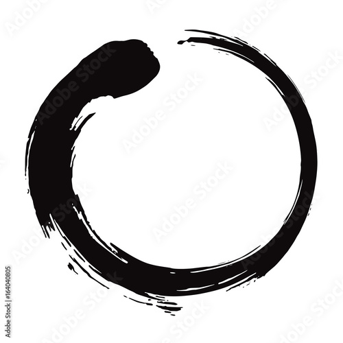 Leinwand Poster Enso Zen Circle Brush Black Ink Vector Illustration