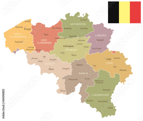 Photo Belgium - vintage map and flag - illustration