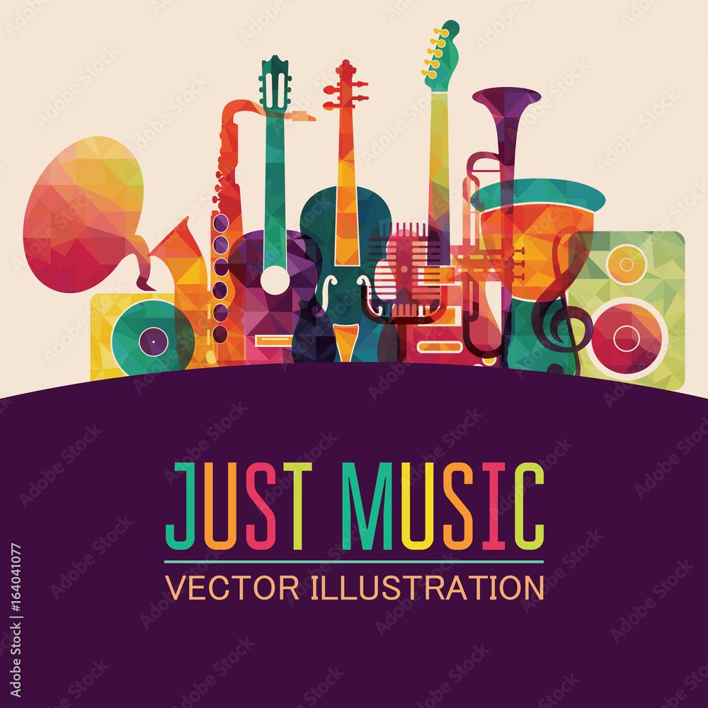 Fototapeta Colorful music background. Vector illustration