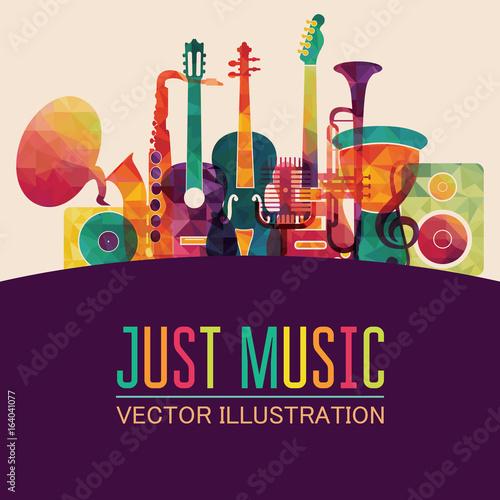 Kolorowe tło muzyczne. Ilustracji wektorowych