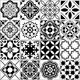 Vector tile pattern, Lisbon floral mosaic, Mediterranean seamless black and white ornament - 164041467