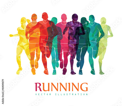 Fotografía  Running marathon, people run, colorful poster