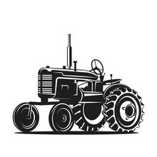 Black Old Tractor Silhouette O...