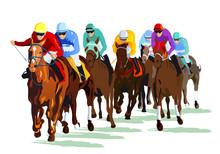 Rennpferde Mit Jockeys Auf Der Rennbahn