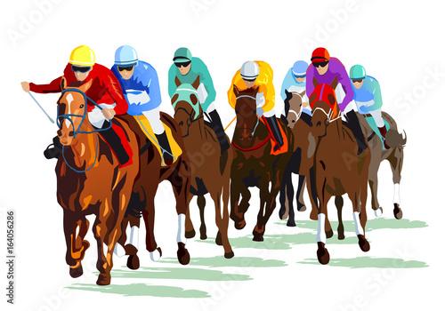 Photo Rennpferde mit Jockeys auf der Rennbahn