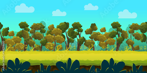 Poster Turquoise Forest 2d game Landscape for games mobile applications and computers. Vector illustration for your design