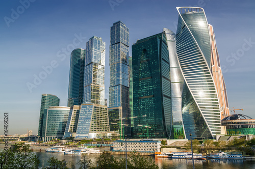 In de dag Moskou Morning view of Moscow-City - International Business Center, Moscow , Russia.