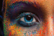 Eye Of Model With Colorful Art...