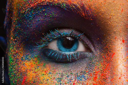 Obraz Eye of model with colorful art make-up, close-up - fototapety do salonu