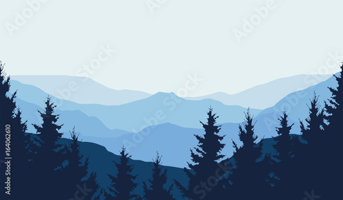 Leinwand Poster Panoramic view of winter mountain landscape with forest and with space for text,