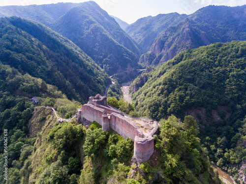 Aerial view of Fortress Poenari near Arefu, Arges County, Romania Canvas