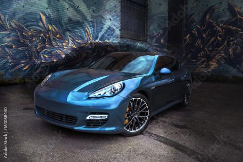 samochod-na-kolorowym-tle-porshe-panamera-perlowy-niebieski