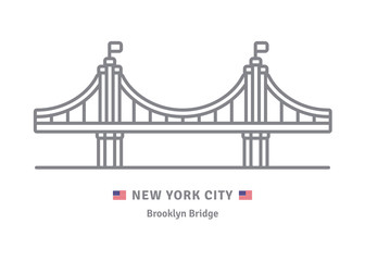 New York City icon with Brooklyn Bridge and US flag