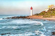 Digital Painting Of The Umhlanga Rocks Lighthouse At Sunrise, Illustration
