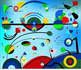 Abstrakcjonistyczny błękita światła tło, stylowy Miro `malarz