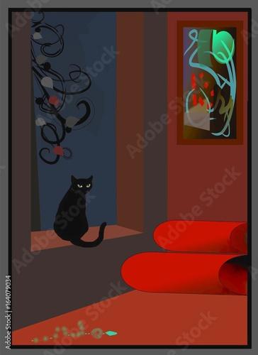 czarny-kot-w-oknie