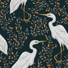 Seamless Pattern With Heron Bird And Cranberry Plant. Rustic Botanical Background. Vintage Hand Drawn Vector Illustration In Watercolor Style