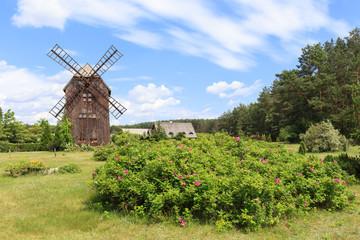 Fototapeta na wymiar Zabytkowy wiatrak drewniany typu koźlak, w przeszłości charakterystyczny dla polskiego krajobrazu wiejskiego.