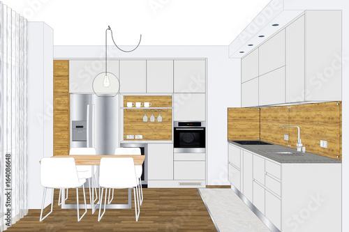 3d Illustration Modern Creative Kitchen Design In Light Interior