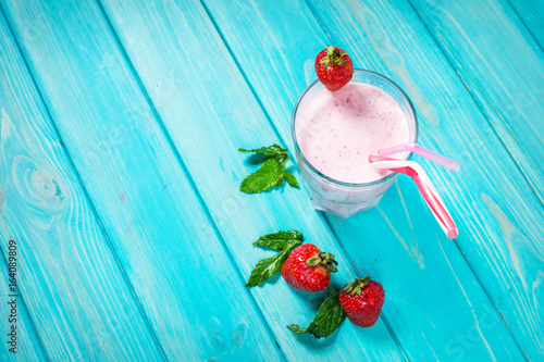 Strawberries milk shake and fresh fruit strawberry Poster