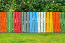 Colorful Fence With Lawns And Tree In Backyard.