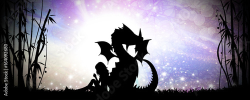 Fotografie, Tablou  Friends for life, girl and her dragon silhouette art photo manipulation