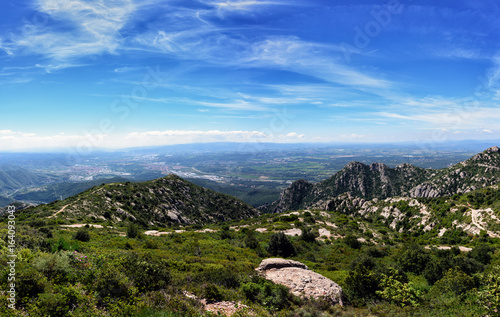 Photo  Panoramic view from Montserrat mountains near Barcelona, Spain