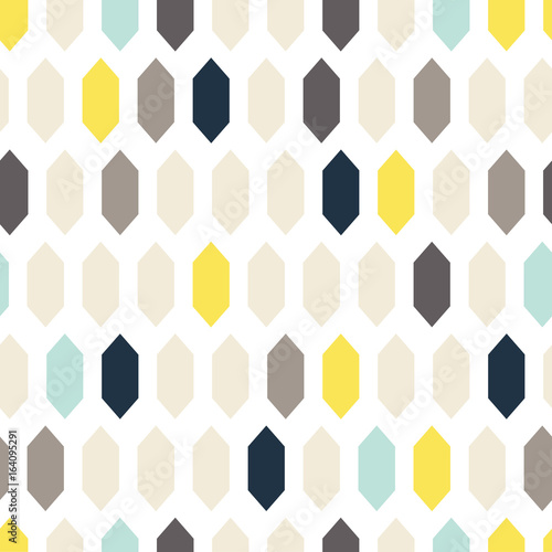plakat Mosaic tiles ornament seamless vector pattern. Gray and yellow geometric abstract repeat background.