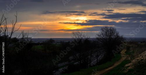 Foto op Aluminium Nachtblauw coucher de soleil