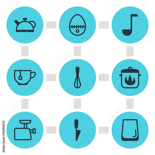 Fotografie, Obraz  Vector Illustration Of 9 Kitchenware Icons